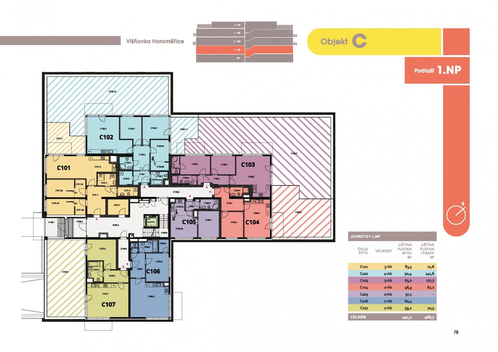 Byt 2+kk, 48.10 m2, Horoměřice, Projekt Višnovka - bytové domy