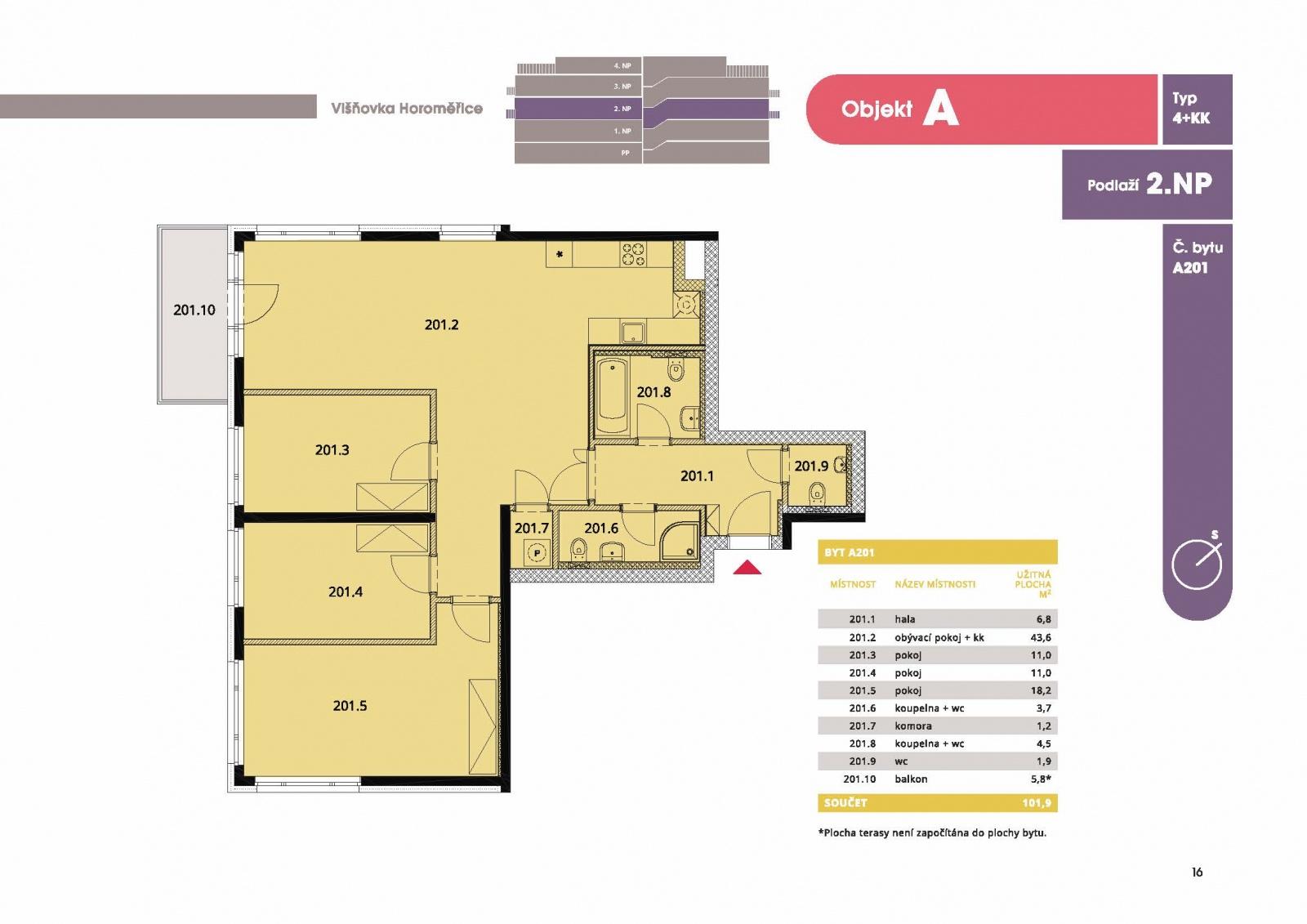 Byt 4+kk, 107,20 m2, Horoměřice, Projekt Višnovka - bytové domy