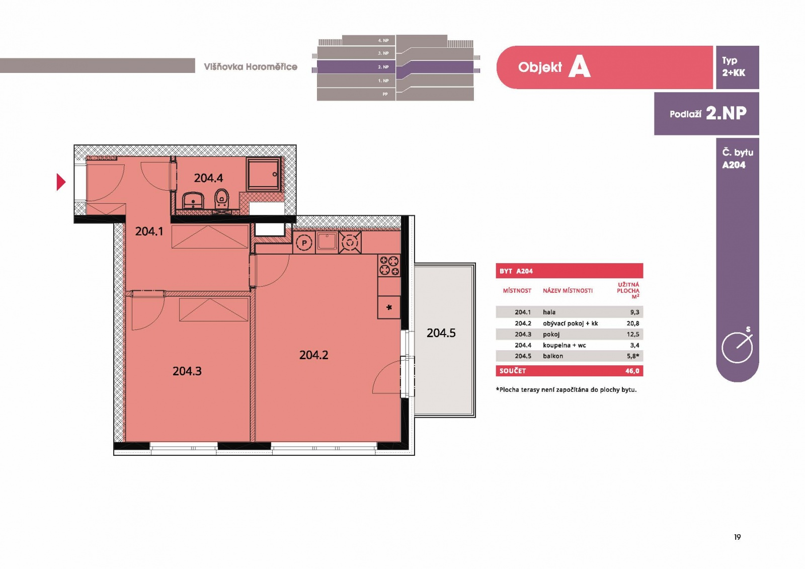 Byt 2+kk, 47,70 m2, Horoměřice, Projekt Višnovka - bytové domy