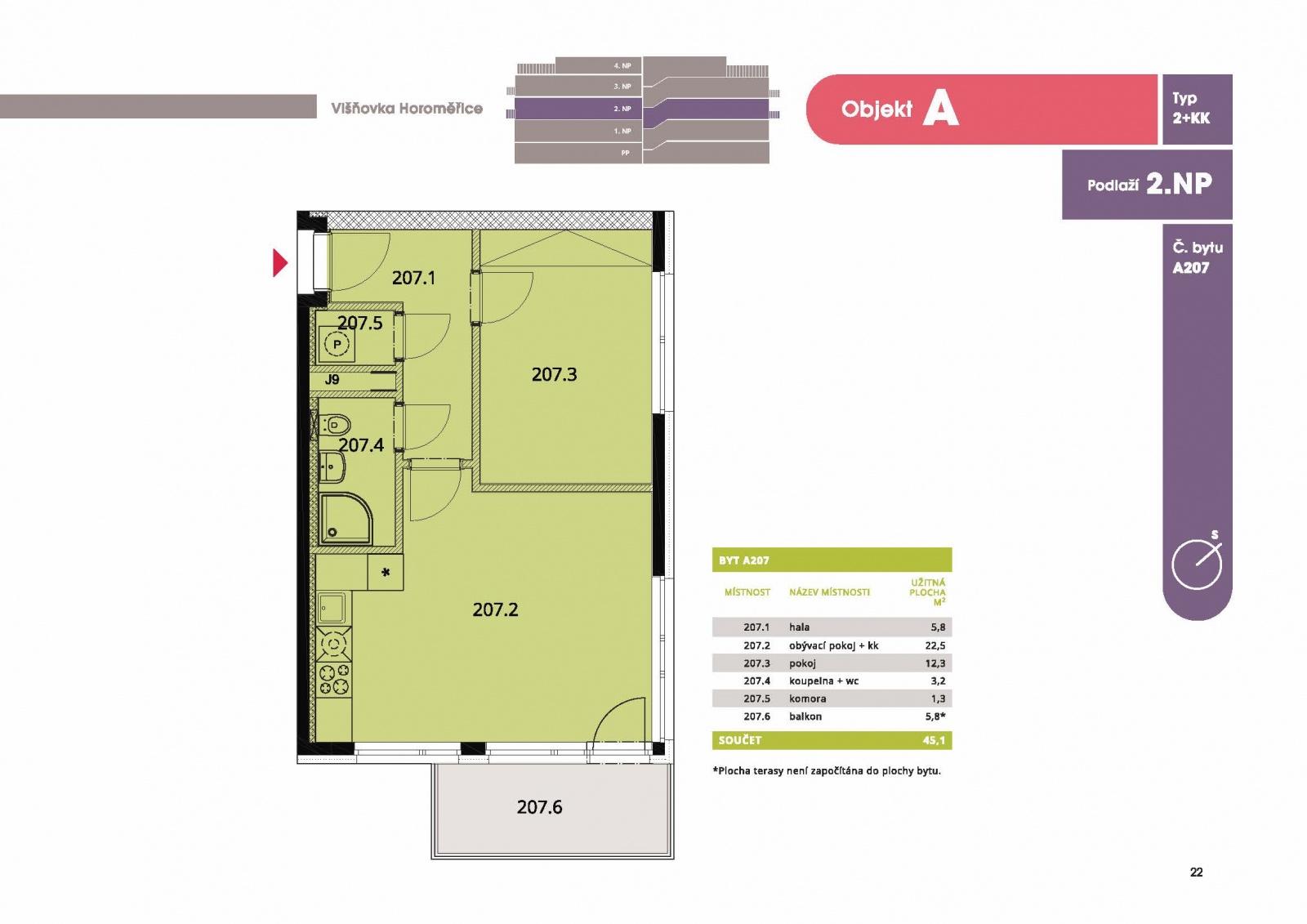 Byt 2+kk, 46,90 m2, Horoměřice, Projekt Višnovka - bytové domy