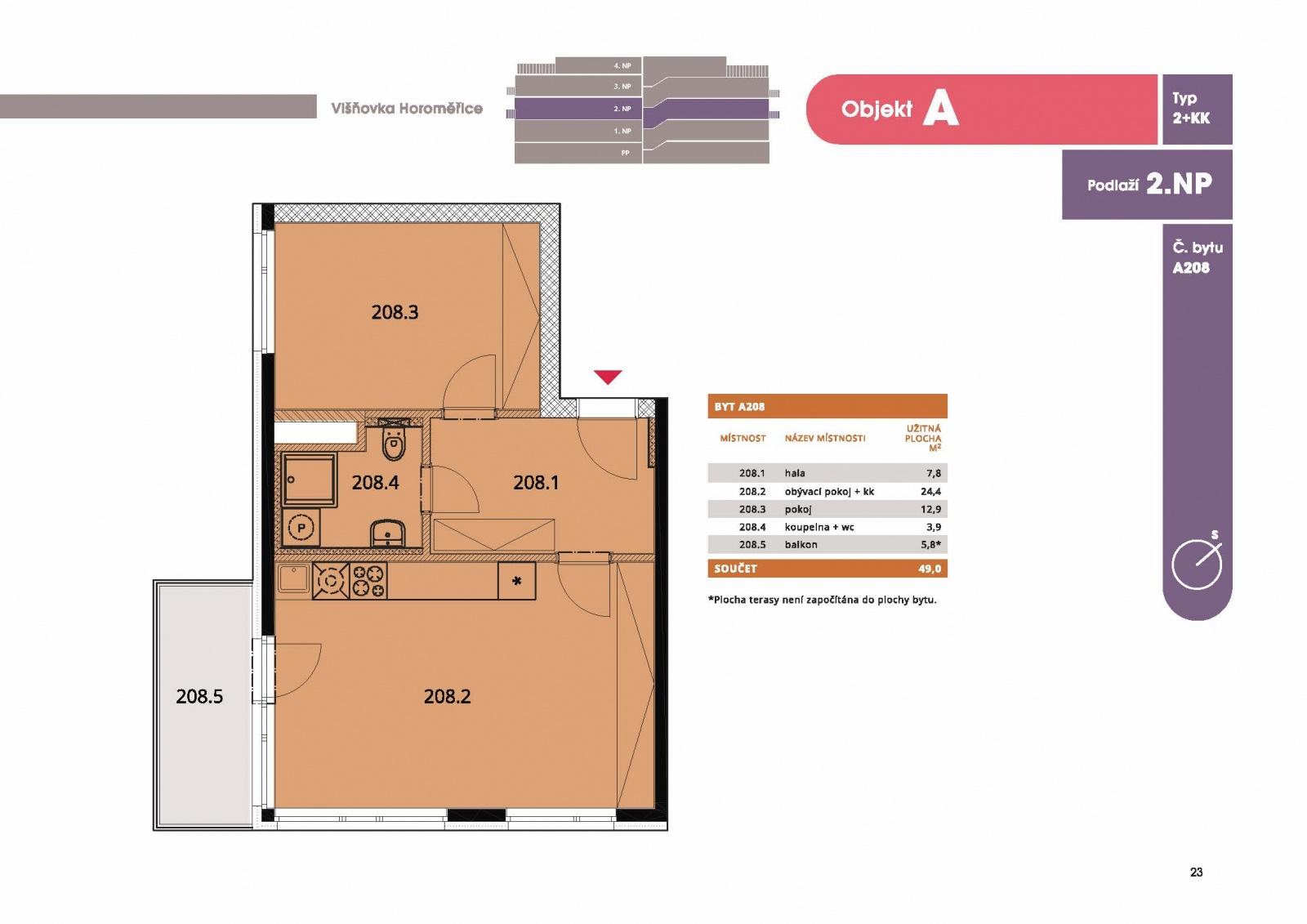 Byt 2+kk, 50,70 m2, Horoměřice, Projekt Višnovka - bytové domy