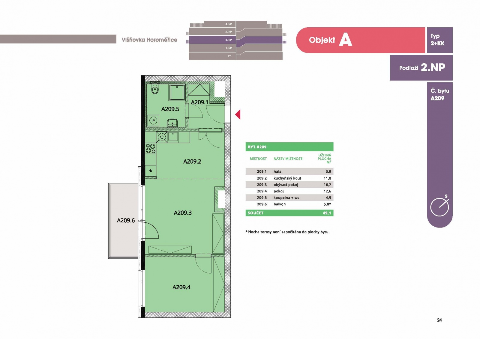 Byt 2+kk, 50,40 m2, Horoměřice, Projekt Višnovka - bytové domy