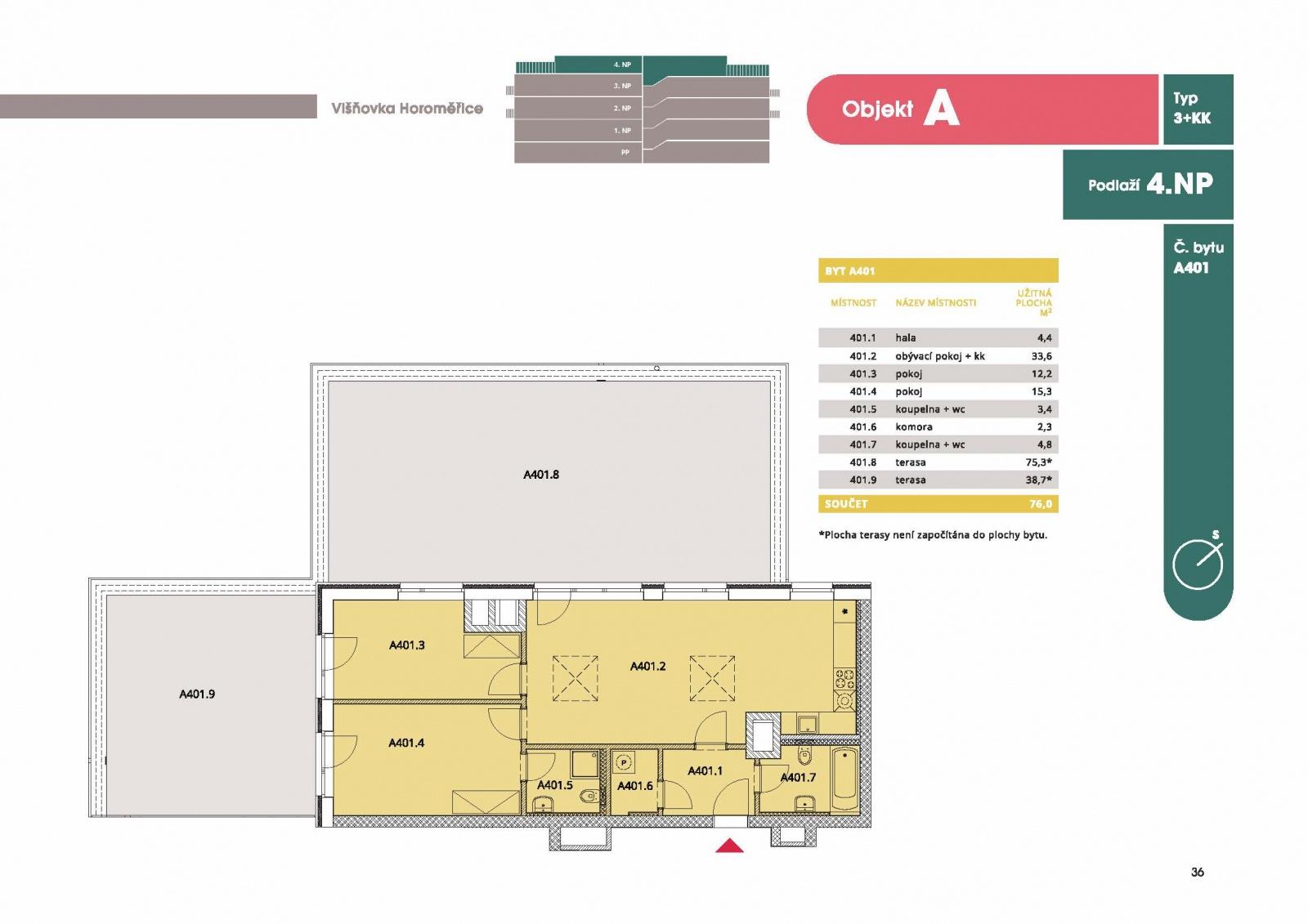 Byt 3 +kk, 80,50 m2, Horoměřice, Projekt Višnovka - bytové domy