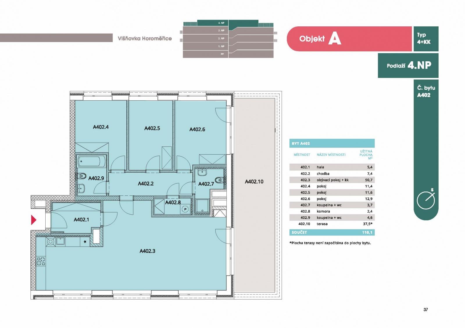 Byt 4+kk, 117,20 m2, Horoměřice, Projekt Višnovka - bytové domy