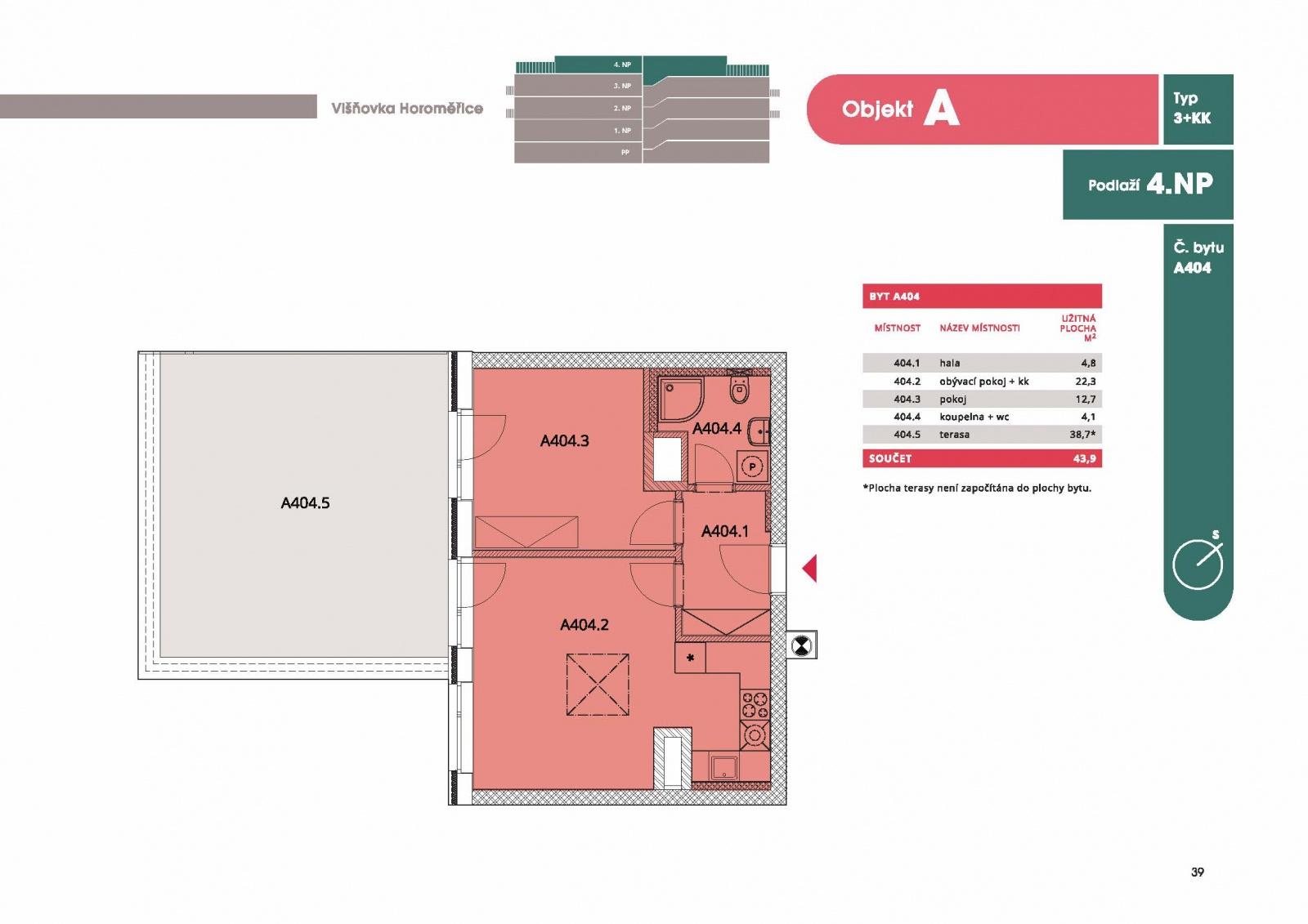 Byt 2+kk, 46,40 m2, Horoměřice, Projekt Višnovka - bytové domy