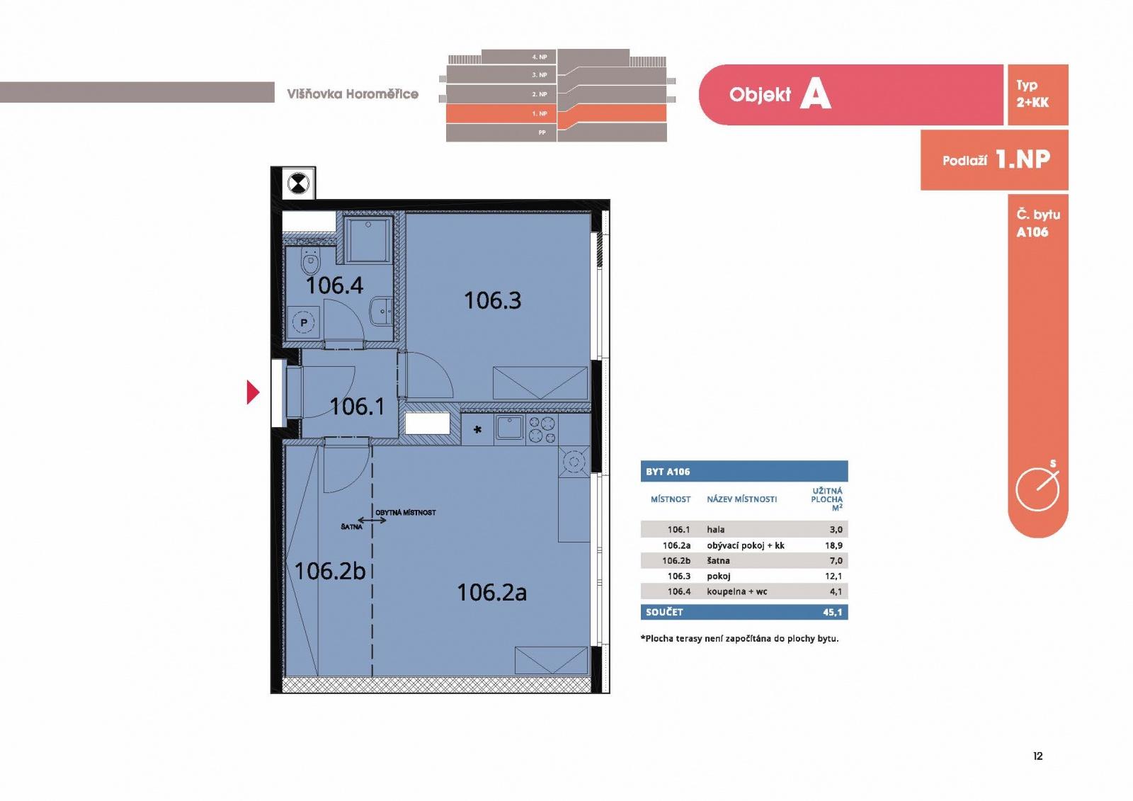 Byt 2+kk, 47,60 m2, Horoměřice, Projekt Višnovka - bytové domy