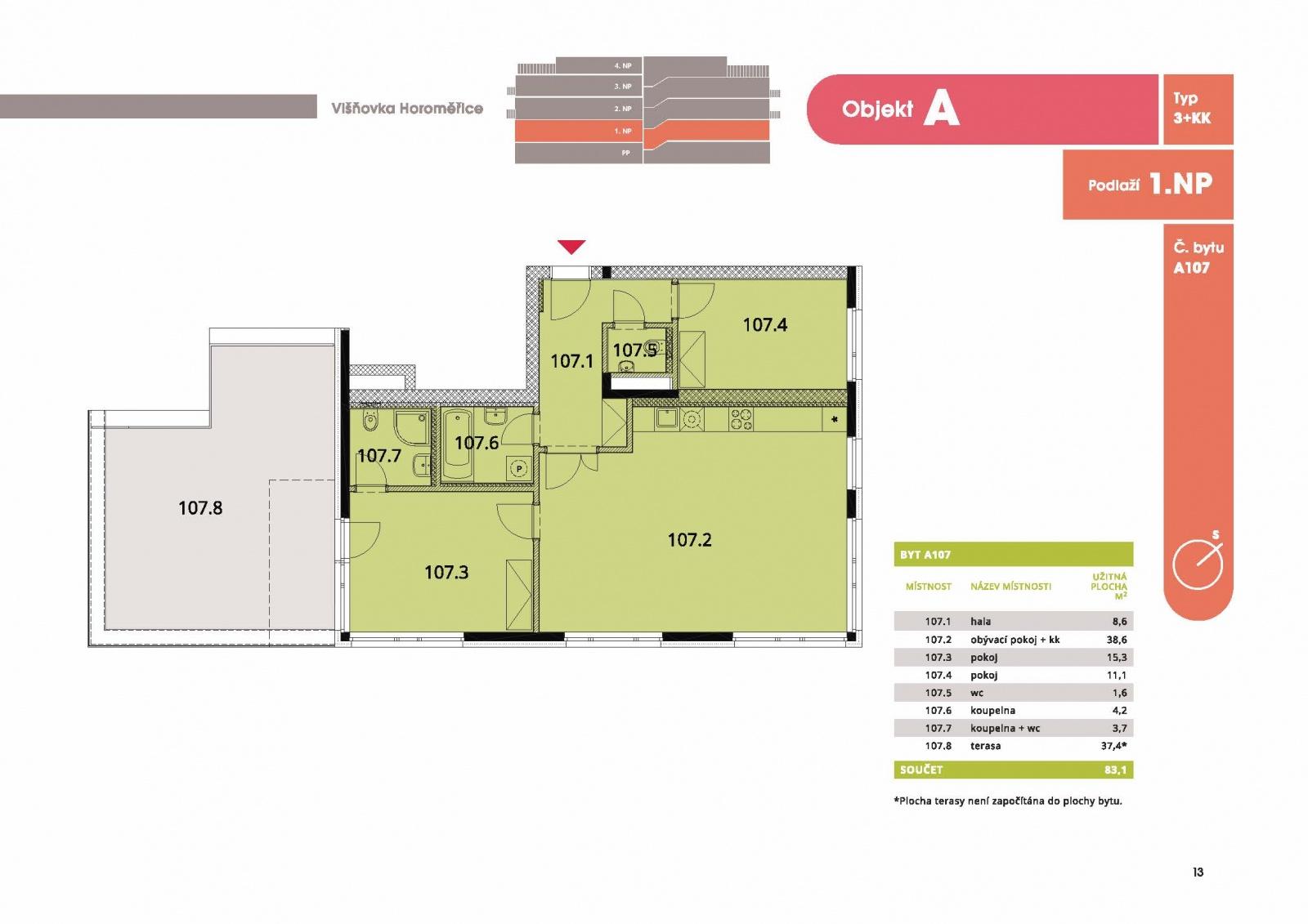 Byt 3+kk, 89,00 m2, Horoměřice, Projekt Višnovka - bytové domy