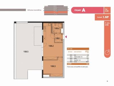 Byt 2+kk, 47,10 m2, Horoměřice, Projekt Višnovka - bytové domy