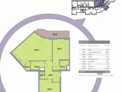 Byt 3+kk, 95,32 m2, Bytový dům Tětínská Praha 5 - Radlice