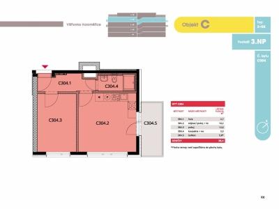 Byt 2+kk, 39.80 m2, Horoměřice, Projekt Višnovka - bytové domy