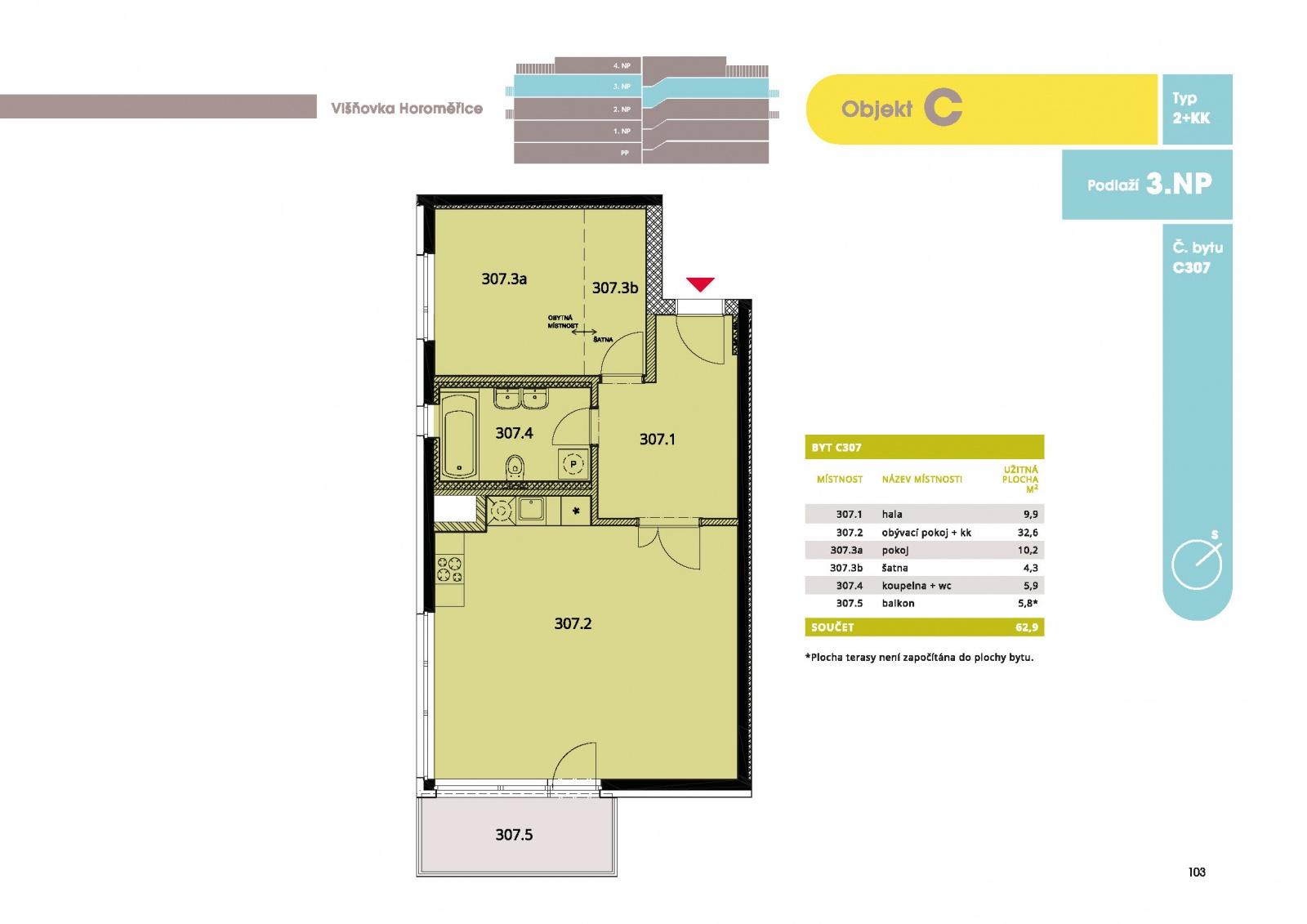 Byt 2+kk, 65.20 m2, Horoměřice, Projekt Višnovka - bytové domy