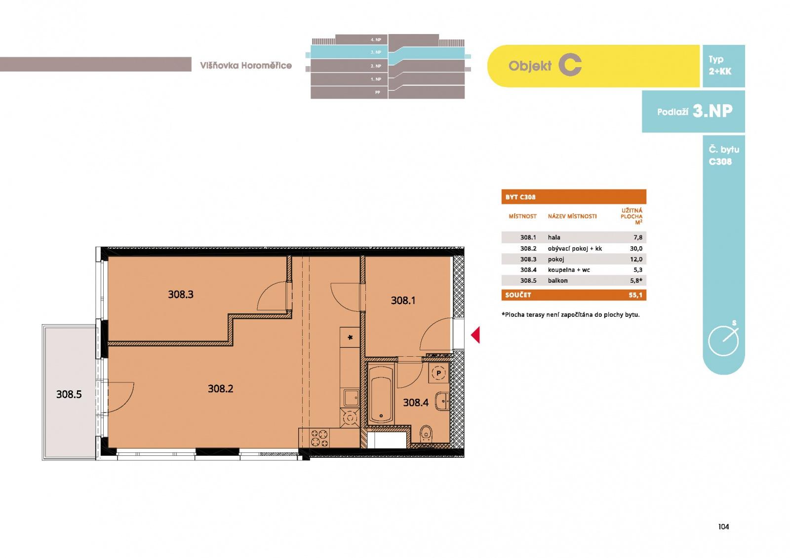 Byt 2+kk, 57.30 m2, Horoměřice, Projekt Višnovka - bytové domy