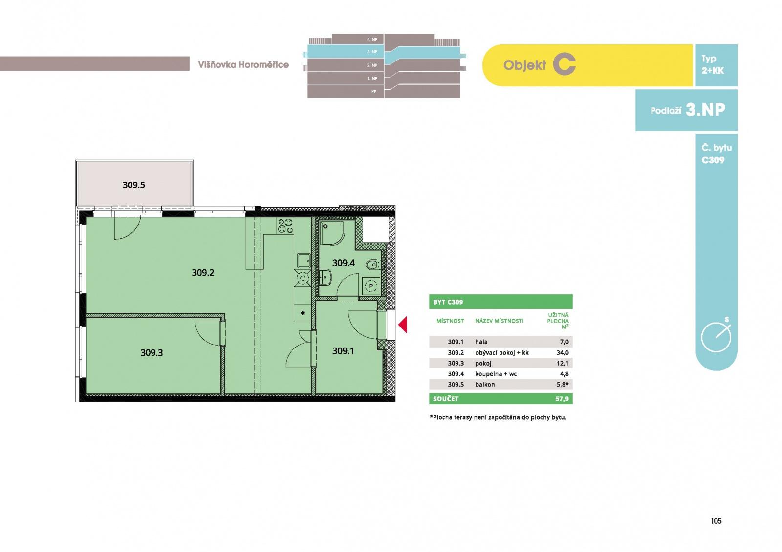 Byt 2+kk, 60.10 m2, Horoměřice, Projekt Višnovka - bytové domy