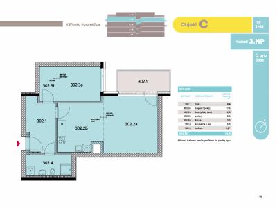 Byt 2+kk, 57.10 m2, Horoměřice, Projekt Višnovka - bytové domy