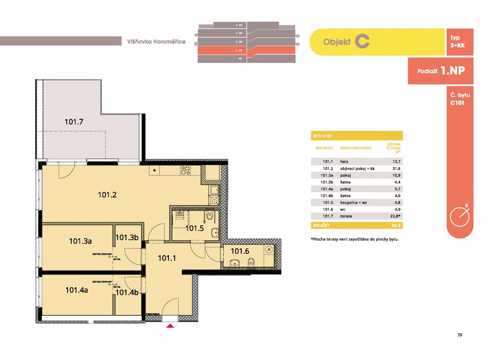 Byt 3+kk, 88.50 m2, Horoměřice, Projekt Višnovka - bytové domy
