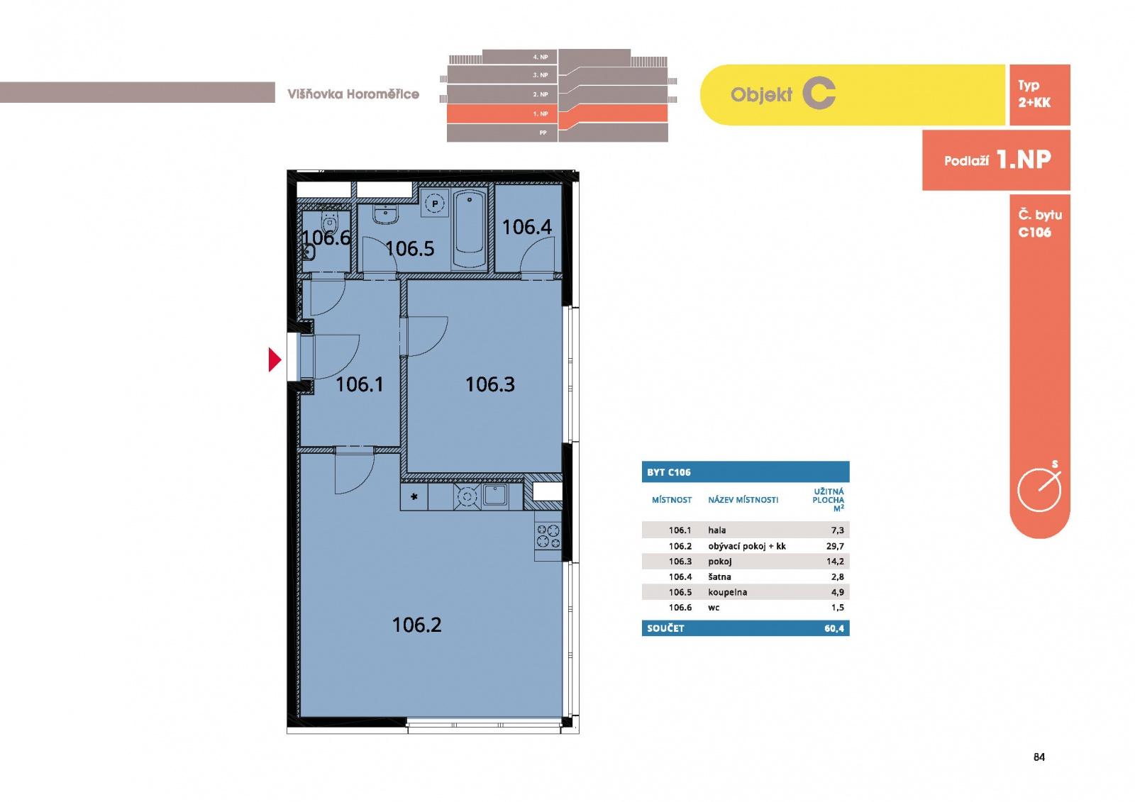 Byt 2+kk, 62.70 m2, Horoměřice, Projekt Višnovka - bytové domy