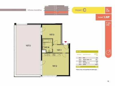 Byt 2+kk, 60.80 m2, Horoměřice, Projekt Višnovka - bytové domy