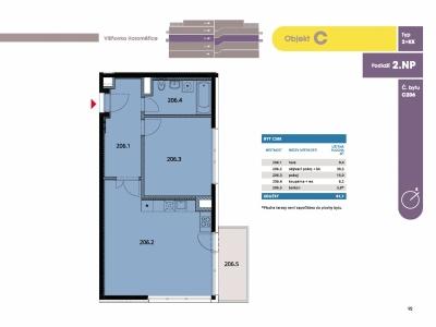 Byt 2+kk, 62.90 m2, Horoměřice, Projekt Višnovka - bytové domy