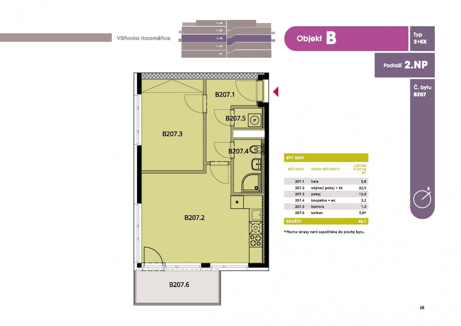 Byt 2+kk, 46.90 m2, Horoměřice, Projekt Višnovka - bytové domy