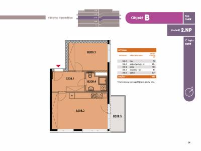 Byt 2+kk, 50.70 m2, Horoměřice, Projekt Višnovka - bytové domy