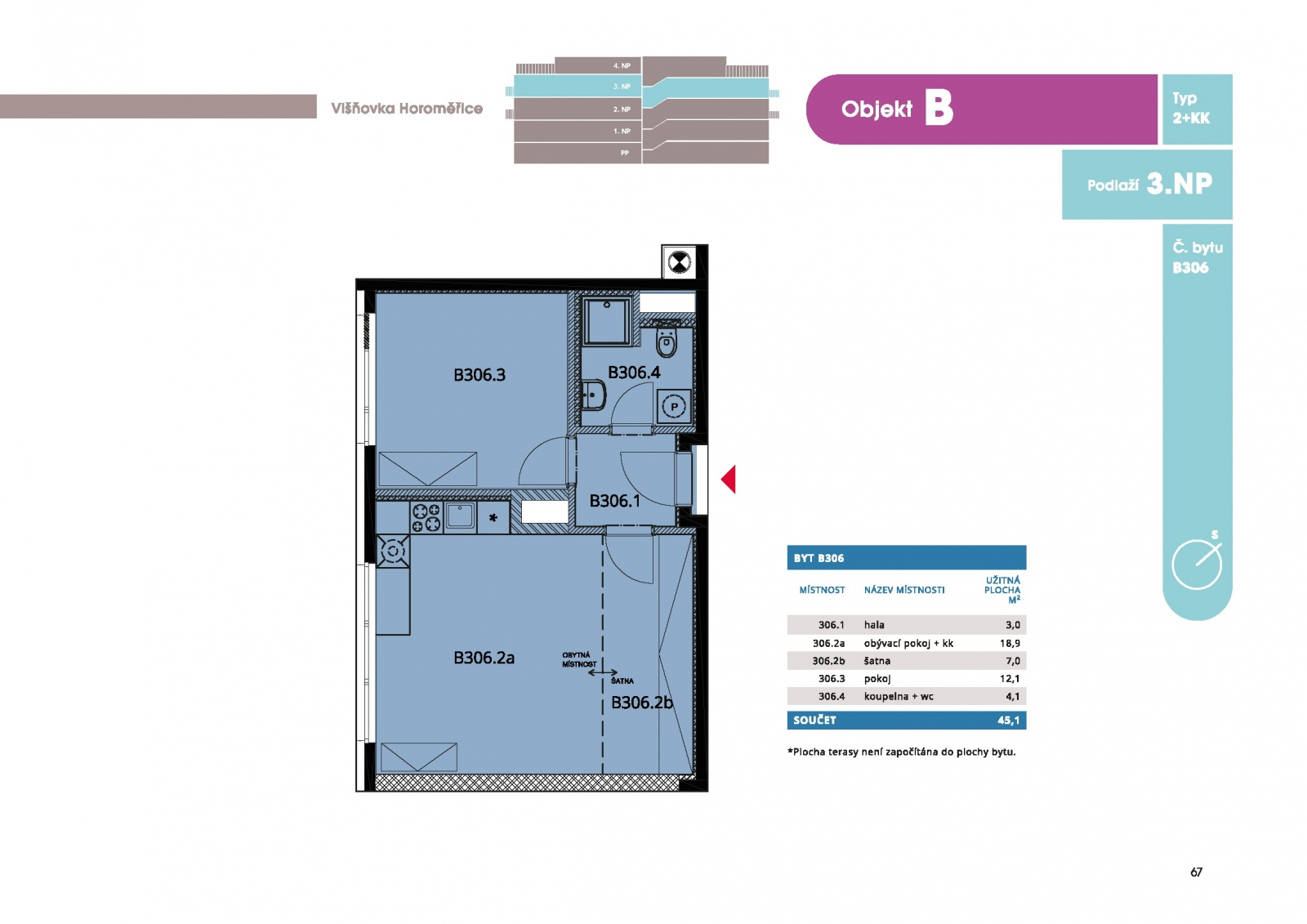 Byt 2+kk, 47.60 m2, Horoměřice, Projekt Višnovka - bytové domy