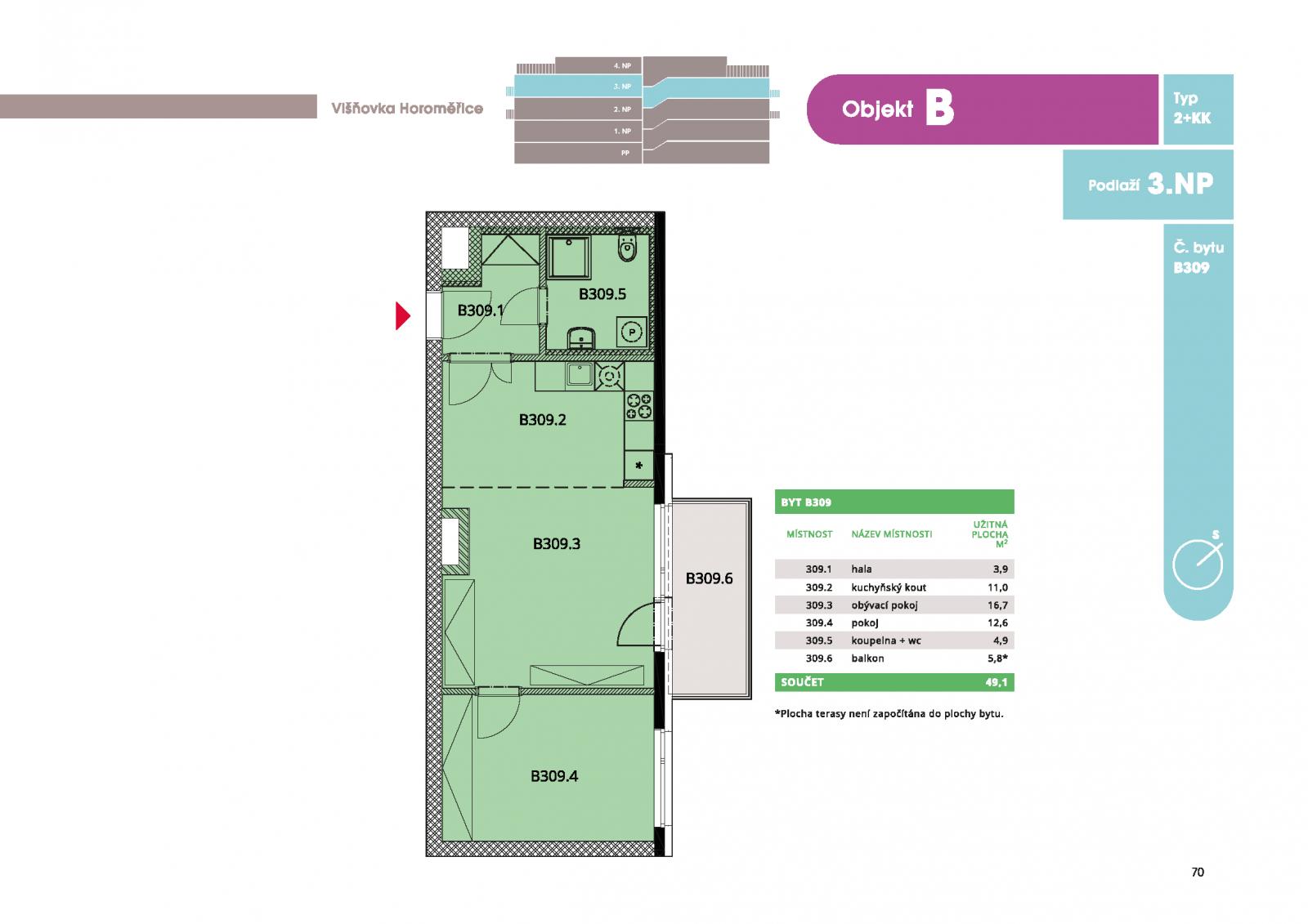 Byt 2+kk, 50.40 m2, Horoměřice, Projekt Višnovka - bytové domy