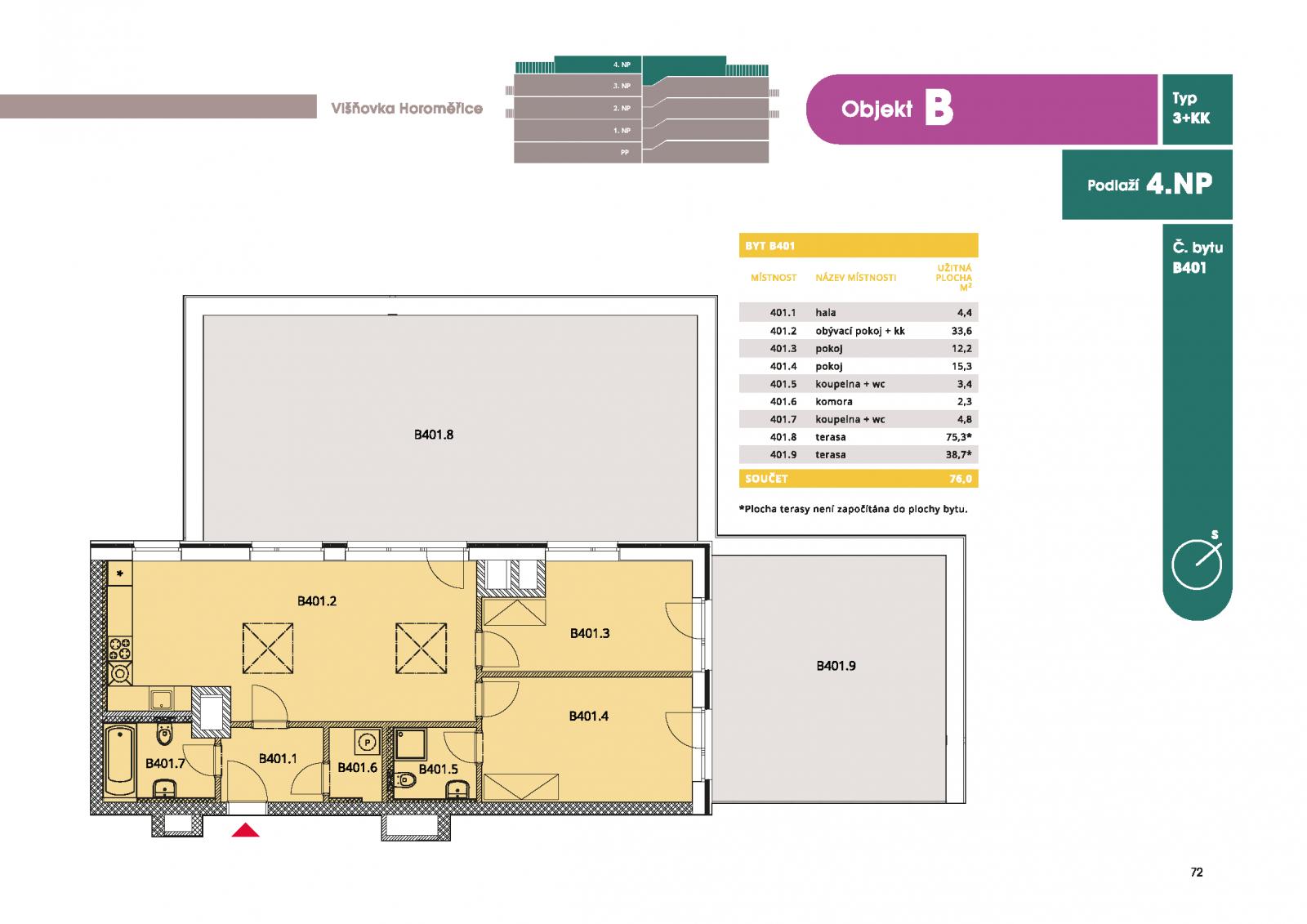 Byt 3+kk, 80.50 m2, Horoměřice, Projekt Višnovka - bytové domy