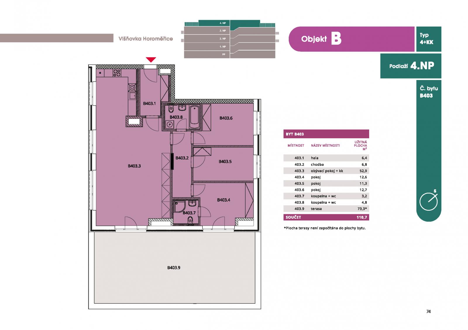 Byt 4+kk, 117.30 m2, Horoměřice, Projekt Višnovka - bytové domy