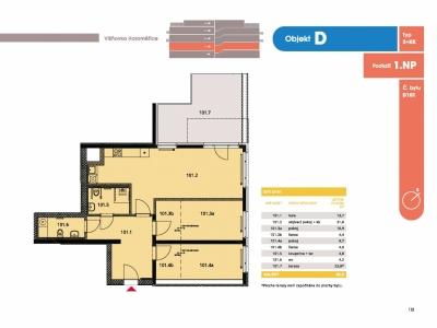 Byt 3+kk, 88.6 m2, Horoměřice, Projekt Višnovka - bytové domy