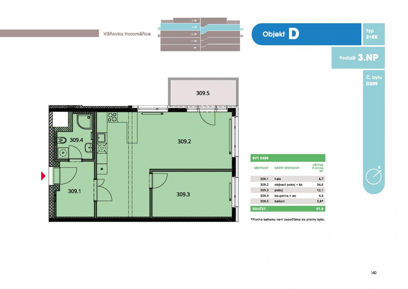 Byt 2+kk, 60.1 m2, Horoměřice, Projekt Višnovka - bytové domy