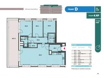 Byt 4+kk, 117.3 m2, Horoměřice, Projekt Višnovka - bytové domy