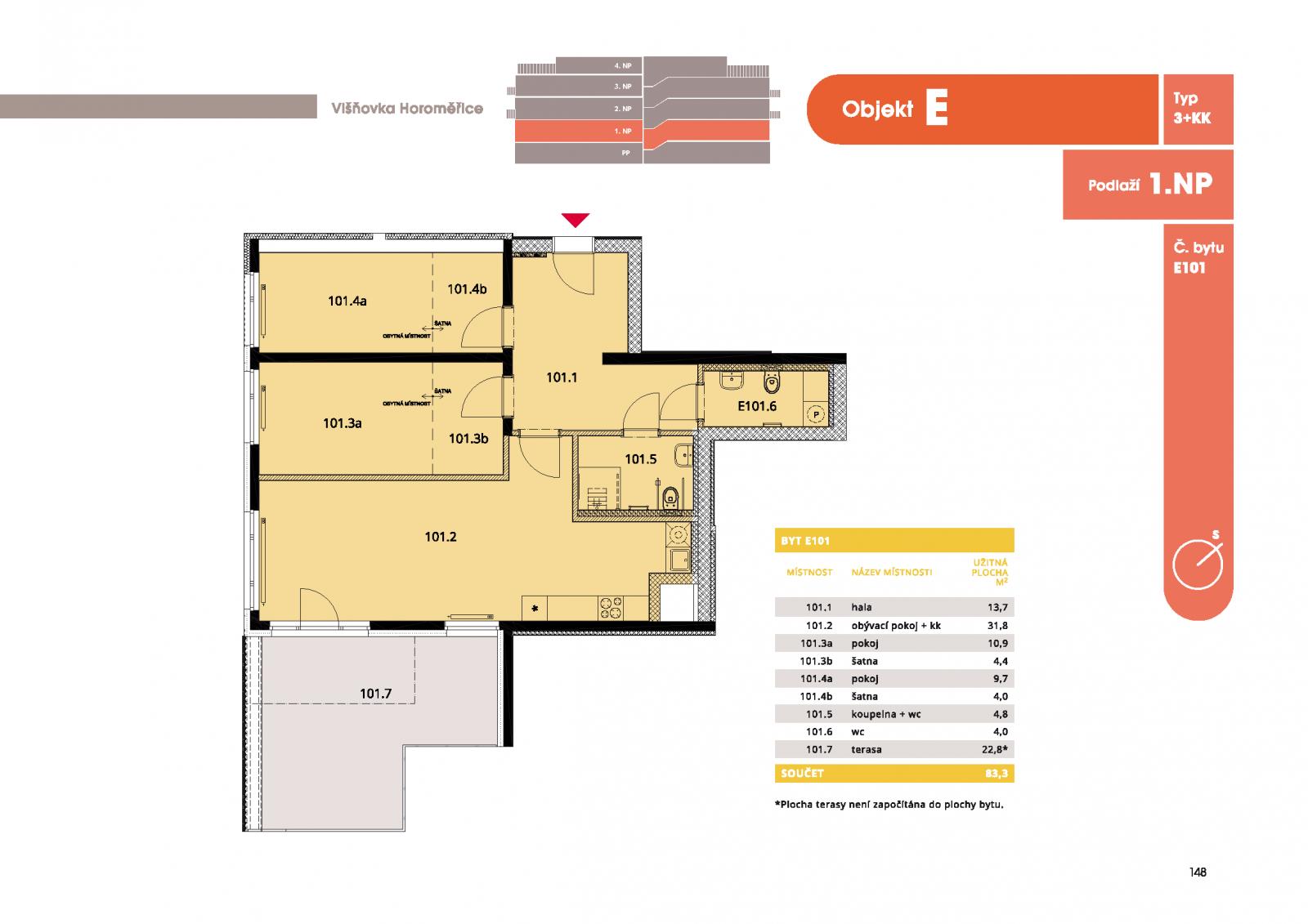 Byt 3+kk, 88.5 m2, Horoměřice, Projekt Višnovka - bytové domy