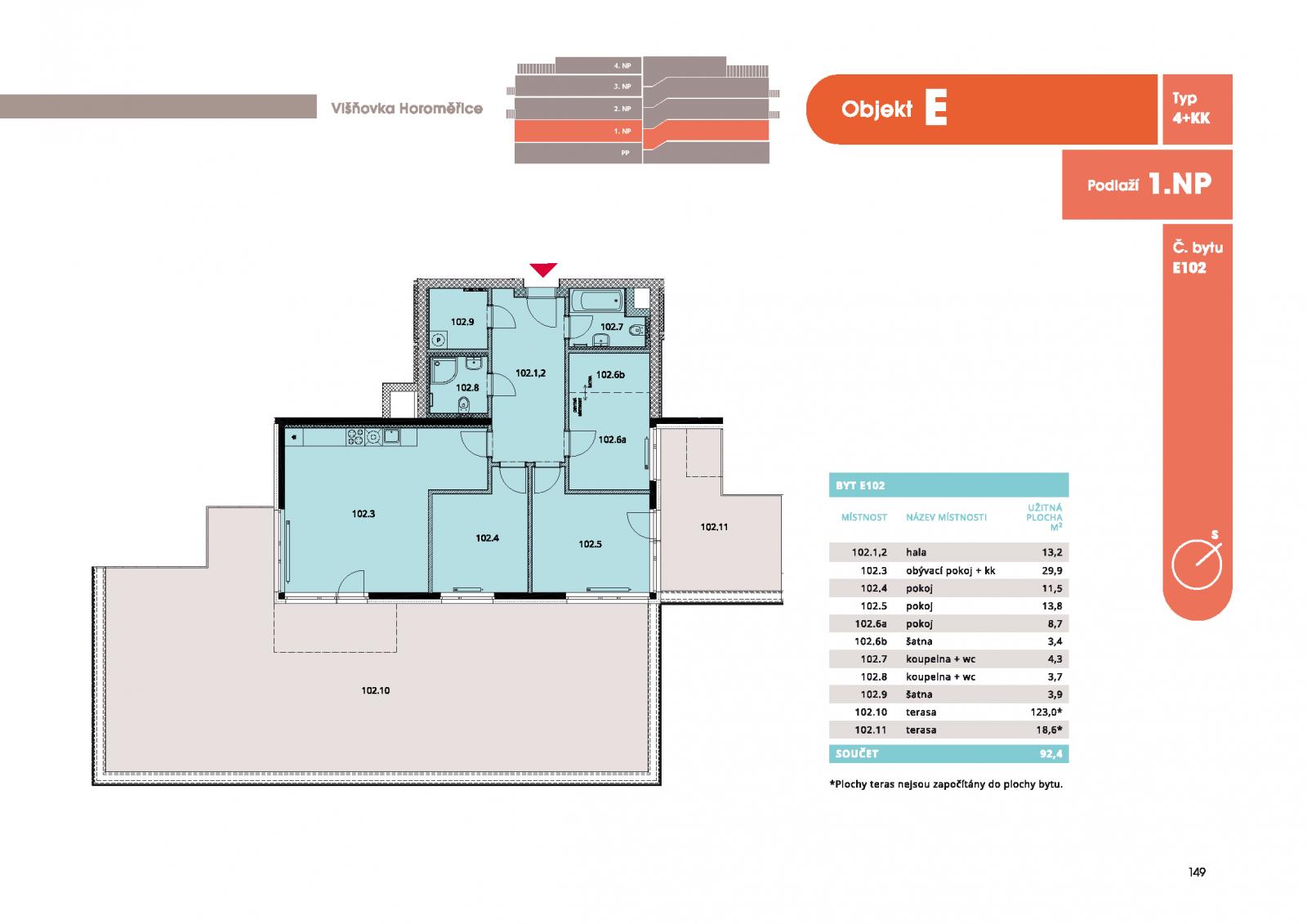 Byt 4+kk, 97.9 m2, Horoměřice, Projekt Višnovka - bytové domy