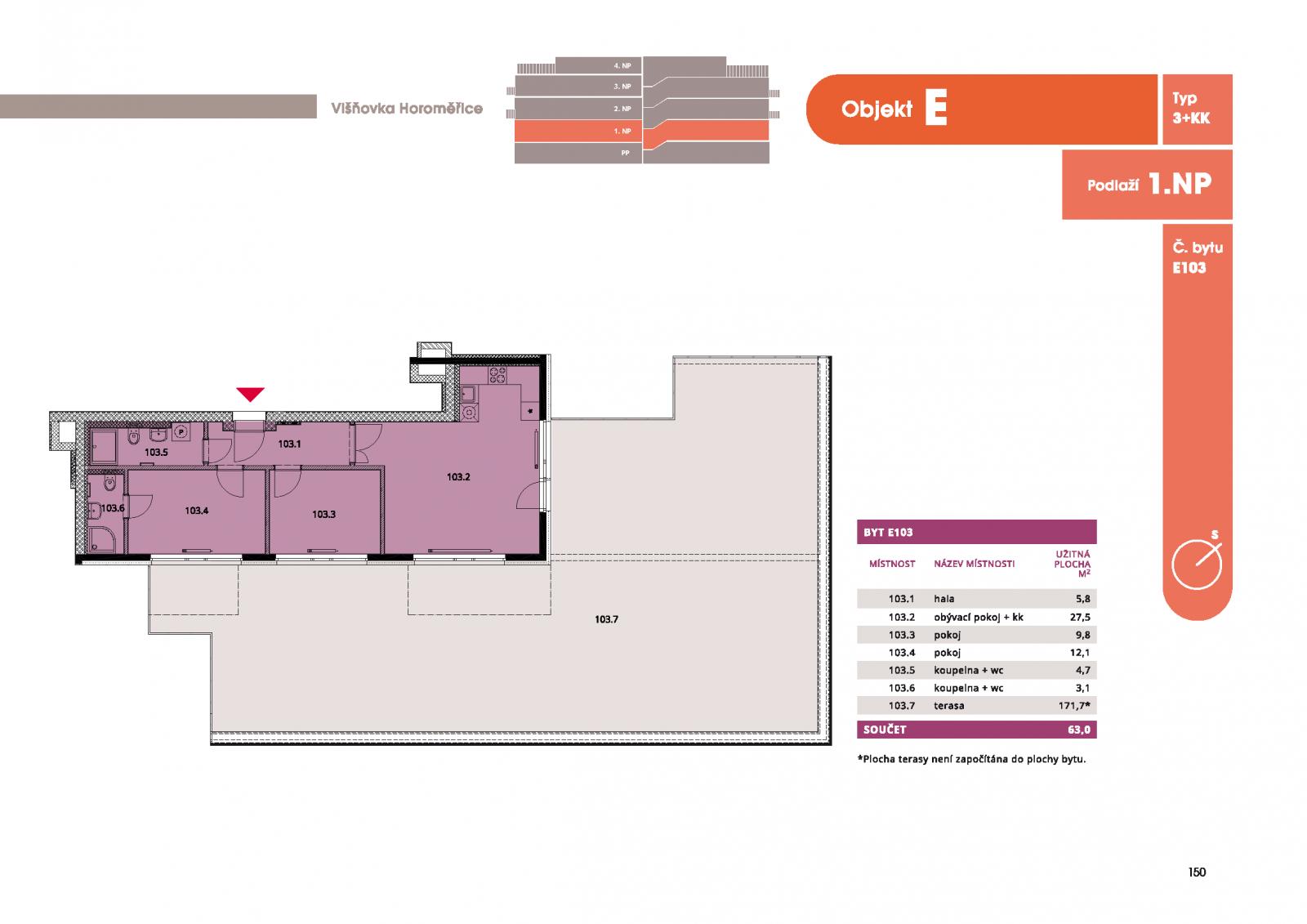 Byt 3+kk, 65.7 m2, Horoměřice, Projekt Višnovka - bytové domy