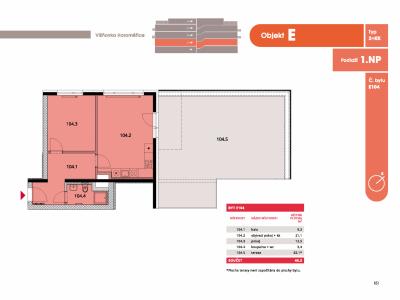 Byt 2+kk, 48.1 m2, Horoměřice, Projekt Višnovka - bytové domy