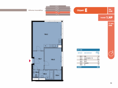 Byt 2+kk, 62.7 m2, Horoměřice, Projekt Višnovka - bytové domy