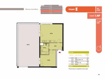 Byt 2+kk, 60.8 m2, Horoměřice, Projekt Višnovka - bytové domy