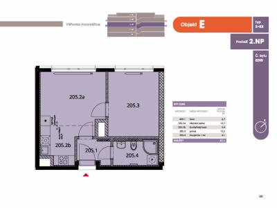 Byt 2+kk, 39.7 m2, Horoměřice, Projekt Višnovka - bytové domy