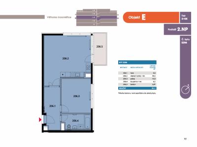 Byt 2+kk, 62.9 m2, Horoměřice, Projekt Višnovka - bytové domy