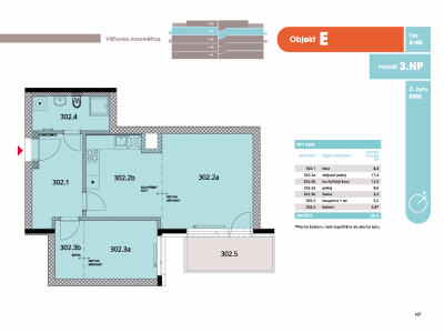Byt 2+kk, 57.1 m2, Horoměřice, Projekt Višnovka - bytové domy