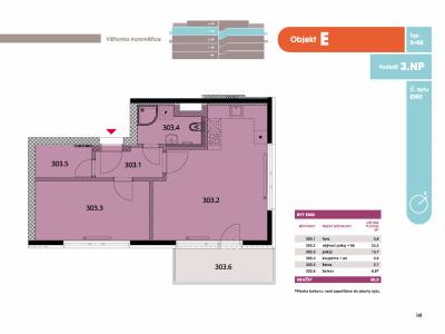 Byt 2+kk, 53.2 m2, Horoměřice, Projekt Višnovka - bytové domy
