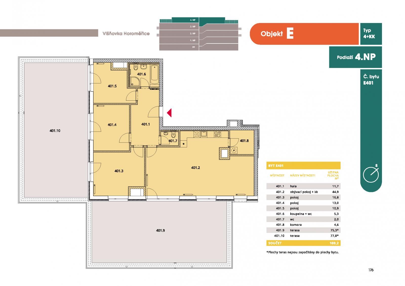 Byt 4+kk, 114.2 m2, Horoměřice, Projekt Višnovka - bytové domy