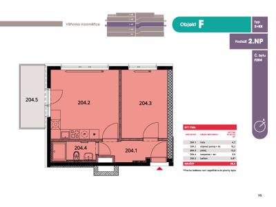Byt 2+kk, 39.8 m2, Horoměřice, Projekt Višnovka - bytové domy