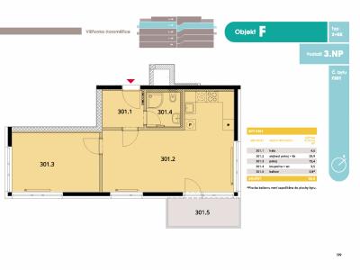 Byt 2+kk, 55 m2, Horoměřice, Projekt Višnovka - bytové domy