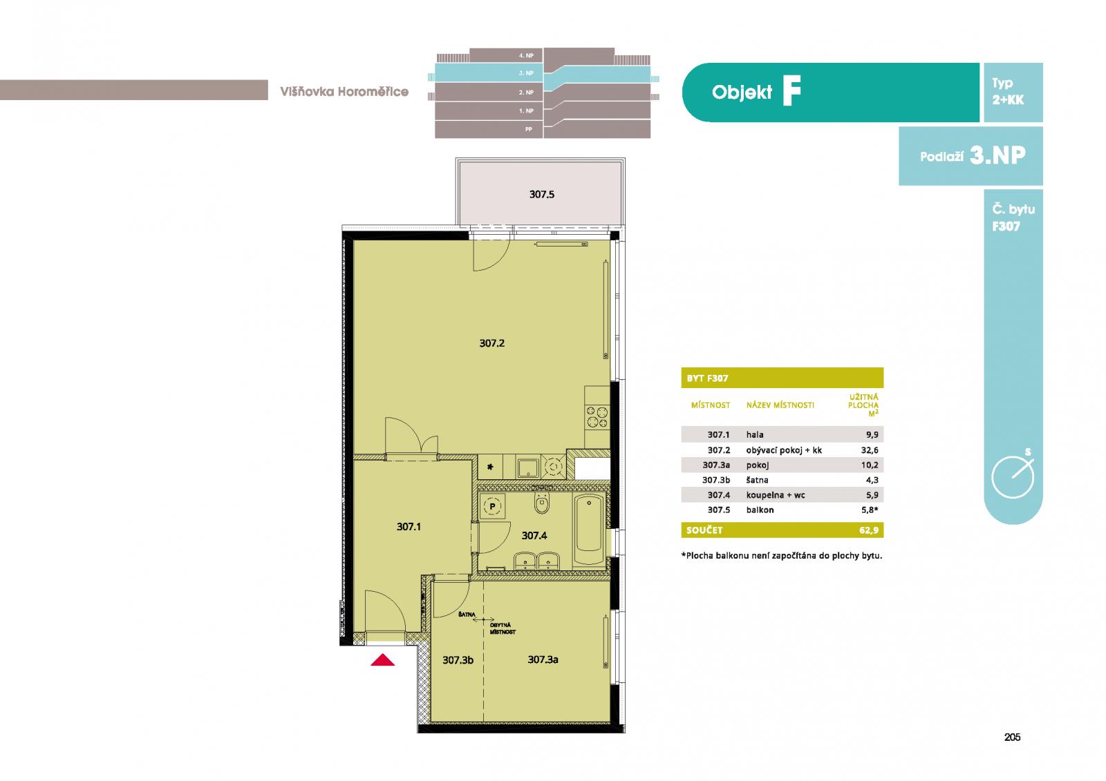 Byt 2+kk, 65.3 m2, Horoměřice, Projekt Višnovka - bytové domy